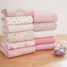 Pink Bundle Pink Linen Cotton Fabric Bundle- Pink Fabric Fat Quarter Bundle, 11 Fat Quarters Pieces