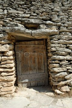 Door in a medieval hut borie in southern France