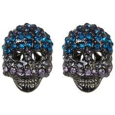 Betsey Johnson Crystal Skull Stud Earrings ($15) ❤ liked on Polyvore featuring jewelry, earrings, blue, blue crystal jewelry, betsey johnson earrings, crystal earrings, skull stud earrings and crystal jewelry