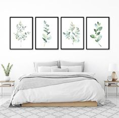 This set of 4 watercolor eucalyptus wall art prints set go together beautifully;… This set of 4 watercolor eucalyptus wall Simple Bedroom Decor, Neutral Bedroom Decor, Simple Bedrooms, Modern Bedrooms, Contemporary Bedroom, Simple Prints, My New Room, Home Interior, Interior Design