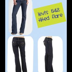 """Levi's 542 Tilted Flare PRELOVED but Like new...no flaws. Across waist 16"""". Rise 8"""". Inseam 32"""". Some stretch... Levi's Jeans Flare & Wide Leg"""