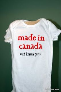 lol  cute...my friend that just had a baby has one for hers that says 'made in america with polish parts'  LOL