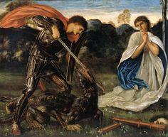 エドワード・バーン=ジョーンズ(Sir Edward Coley Burne-Jones)『竜を斬り殺す聖ゲオルギウス』(St. George Slaying the Dragon) ニューサウスウェールズ州立美術館 in シドニー