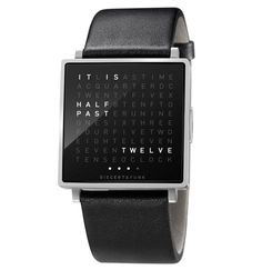Time display stages the moment.  In a square there is a grid of 110 letters. When the stainless steel button is pressed, words that describe the time light up in unexpected places. Whenever you look at your QLOCKTWO W it is a new experience.  The high-quality brushed stainless steel case measures 35 x 35 mm. The watch is available with a 24 mm leather strap. Next to the time, QLOCKTWO W also shows the calendar date or even the seconds.