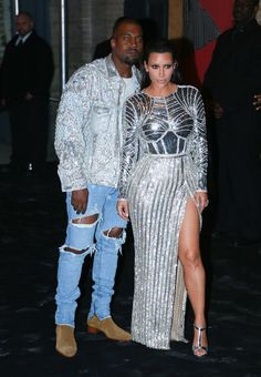 "Kim Kardashian Photos Photos - Kanye West (L) and Kim Kardashian attend the afterparty for ""Manus x Machina: Fashion In An Age Of Technology"" Costume Institute Gala at The Gilded Lily on May 2, 2016 in New York City. - 'Manus x Machina: Fashion in an Age of Technology' Costume Institute Gala - After Parties"