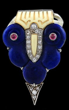 CARTIER~ LAPIS, IVORY, DIAMOND AND RUBY BROOCH/CLIP