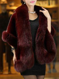 Luxurious Hooded Faux Fur Color Block Coats - fashionMia.com