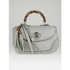 Pre-owned Gucci Grey Speckled Leather New Bamboo Large Top Handle Bag