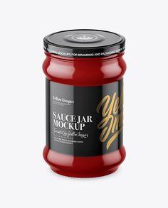 Glossy Sauce Jar Mockup (High-Angle Shot)