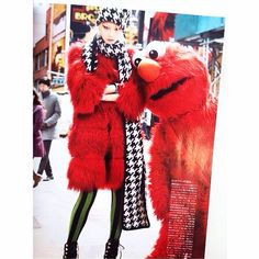 Striped leggings and hat, scarf pied de poule from FW14 collection for Vogue Japan styled by Anna dello Russo