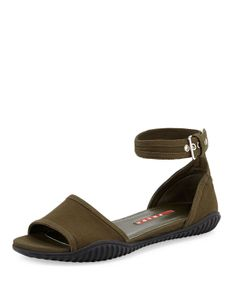 Prada Gabardine Flat Sandal, Militaire - Neiman Marcus