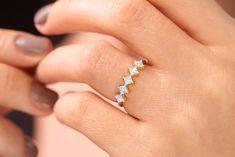 Diamond Anniversary Rings, Diamond Wedding Rings, Diamond Bands, Wedding Bands, Curved Wedding Band, Wedding Rings For Women, Princess Cut Diamonds, Beautiful Rings, Fine Jewelry