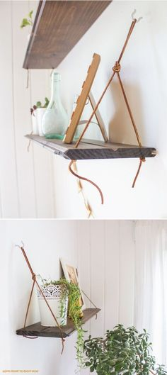 DIY: hanging shelves - something to make with recycled pinewood boards left over from projects!! - http://www.diyhomeproject.net/diy-hanging-shelves-something-to-make-with-recycled-pinewood-boards-left-over-from-projects
