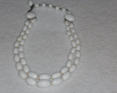 Vintage White Milk Glass Double Strand Choker Hollywood Regency Necklace