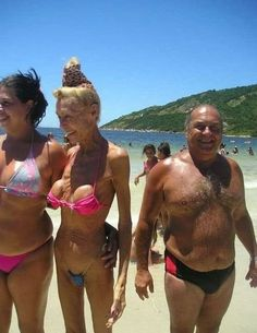 This is what happens to implants when we get old & wrinkley.  They don't wrinkle.  When bikini's aren't sexy....
