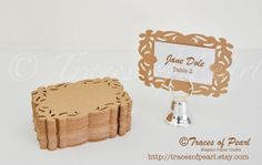 Elegant Frame Cardstock - Place Cards, Die cuts, Wedding Paper - by TracesofPearl