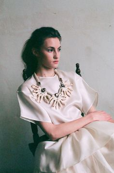 WHITE FROST white bohemian necklace. Oversized maxi coral necklace.
