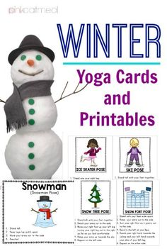 Winter Yoga Cards and Printables! Pose like an ice skater or snowman! Gross Motor Activities, Movement Activities, Therapy Activities, Infant Activities, Preschool Activities, Preschool Age, Preschool Winter, Winter Activities For Kids, Music And Movement