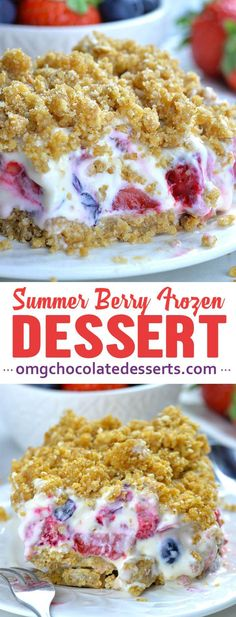 Summer Berry Frozen Dessert is easy no bake recipe for refreshing summer treat. It's delicious, creamy, no bake cheesecake with mix of fresh summer berries, graham cracker crust and crunchy crumb topping. Köstliche Desserts, Frozen Desserts, Delicious Desserts, Frozen Fruit, Chocolate Desserts, No Bake Summer Desserts, Refreshing Desserts, Easy Baking Recipes, Cake Recipes