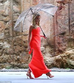 """Jennifer Hawkins in the Maticevski """"Visionary Gown"""" during the dress rehearsal for the MYER Autumn 16 launch tonimaticevski.com"""