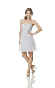 Fine pleats spiral all over the bodice of Bari Jay BC-1500-S Bridesmaid Dress, highlighting the strapless sweetheart neckline.
