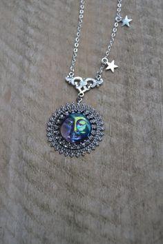 Dark moon necklace, moon goddess necklace, moon and stars necklace, moon face necklace man in the moon necklace