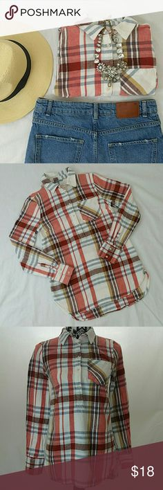 Plaid Flannel Top Excellent condition. Worn only twice. Merona Tops Button Down Shirts