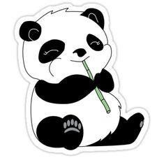 'Panda' Sticker by unitycreative Panda Stickers<br> Sticker Stickers Cool, Bubble Stickers, Printable Stickers, Laptop Stickers, Planner Stickers, Cute Kawaii Drawings, Cute Animal Drawings, Doodles, Totoro
