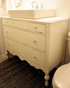 Antique Dresser Turned Vanity. I Want To Do This Sooo Bad.