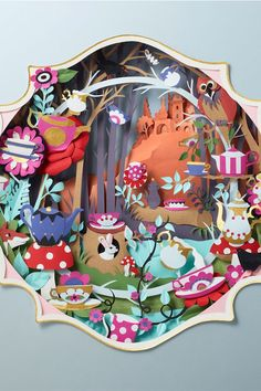 Fairytale forest scene inspired by Alice in Wonderland // Artwork by Papercut Artist Helen Musselwhite