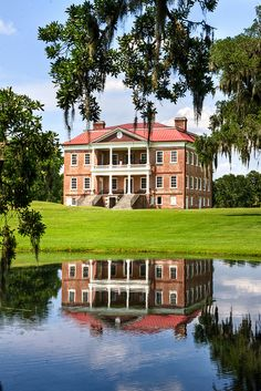 """Drayton Hall is an 18th century Southern Plantation mansion located in the """"Lowcountry"""" on the Ashley River ~ about 15 miles northwest of Charleston, South Carolina. It is an outstanding example of Palladian architecture, and the only plantation house on the Ashley River to survive intact through both the Revolutionary and Civil wars. It is a National Historic Landmark."""