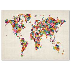 Mapa del Mundo Flores Arte por Michael Tompsett