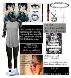 """""""Untitled #504"""" by emmcg915 ❤ liked on Polyvore featuring H&M, LE3NO, Converse and Allurez"""