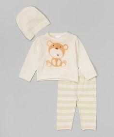 Cream Plush Appliqué Bear Sweater Set - Infant