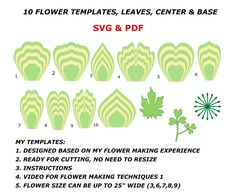 Paper Flower Template Bundle, Flower Template Printable, Flower Petal Template, Large Paper Flower Template, Paper Flower Pattern by MaiPaperFlowers on Etsy Large Paper Flower Template, Flower Petal Template, Paper Flower Patterns, Flower Svg, Large Paper Flowers, Leaf Template, Paper Flower Tutorial, Giant Paper Flowers, Templates
