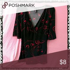 Empire-waisted Top Beautiful black top with red designs, is empire-waisted, and ties with attached belt.  Bell sleeves drape gracefully.  This would look great with jeans or a black skirt. L8er clothing Tops Tunics