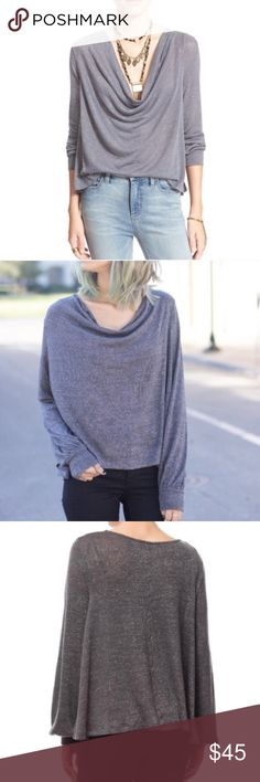 1170064fe2 🎉flash sale🎉Free People metallic cowl neck top New with tags. This is  like a really lightweight sweater material in dark gray with metallic  silver striped ...