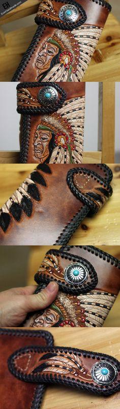 Handmade biker wallet brown leather Indian chief carved biker wallet b | EverHandmade