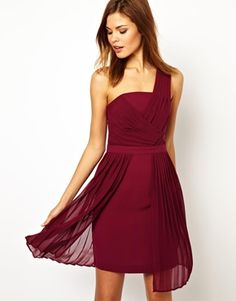 Image 1 of Warehouse Chiffon Pleat One Shoulder Dress