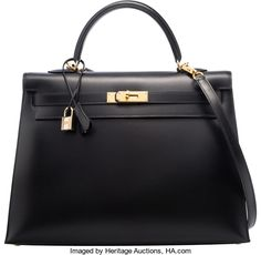 """Hermes 35cm Black Calf Box Leather Sellier Kelly Bag with GoldHardware. D Square, 2000. Excellent Condition. 14"""" Width x..."""