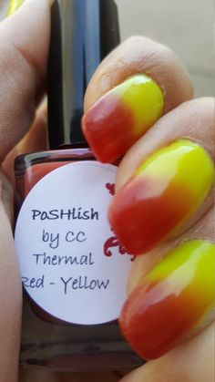 Unique Color Changing Red - Yellow Thermal Nail Polish Full Size 15ml Bottle by PoSHlish on Etsy