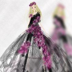 Little Caged Dress Sketch - - - #ootd #cagedress #steampunk #art #illustration #sketch #drawing #fashion #fashionista #fashionillustration #fashionart #fashionisart #minimalist #artist #fashiondrawing #purple #flowers