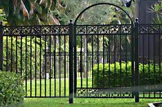 aluminum fencing.  Eleagnus could grow over the arch?