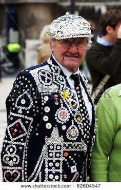 London. Pearly king at the Pearly Kings and Queens Harvest Festival.