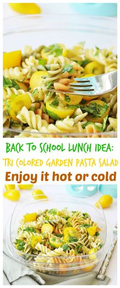 Tri colored noodles, finely chopped super greens, sweet cherry tomatoes, and a tangy dressing make for a fun and healthy school lunch. #backtoschool #healthy