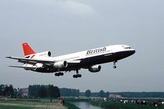 """British Airways Lockheed L-1011-385-1-15 TriStar 200 G-BHBL """"The Red Ensign Rose"""" on final approach to RAF Gütersloh, circa 1984. (Photo: © Marcus Herbote)"""
