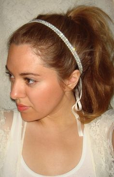 Crystal Headband - JEWEL, headband, rhinestone headband, hair accessories, halo headband, weddings, wedding headband. $46.00, via Etsy.