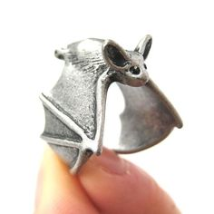Bat Animal Wrap Adjustable Ring in Silver | Animal Jewelry