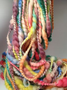 Hand Dyed Handspun Coiled Art Yarn 49 yards 52 oz par FluffduJour, $32.00