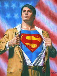 Superman Christopher Reeve Clark Kent art print by billpruittart, $15.00